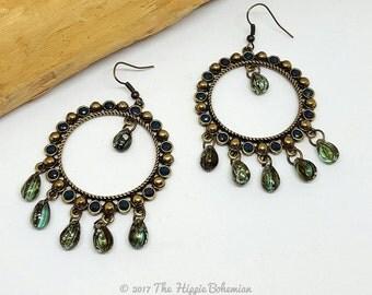 Teal Hoop Chandelier Earrings - Teal Chandelier Earrings - Teal Hoop Earrings