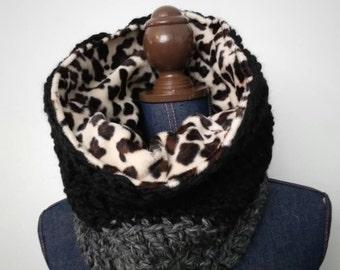 Cowl Scarf, Cheetah Faux Fur lining, Charcoal Gray, Black, Chunky Crochet Neck Warmer, Men or Women, READY TO SHIP