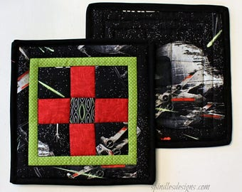 Quilted Pot Holders, Quilted Hot Pads, Star Wars Pot Holders, Novelty Pot Holders, Star Wars Hot Pads, Star Wars Trivet, Set of 2