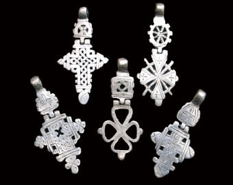 5 Hinged Ethiopian Coptic Cross Pendants : Ethiopia Jewelry Beads Bulk Discount