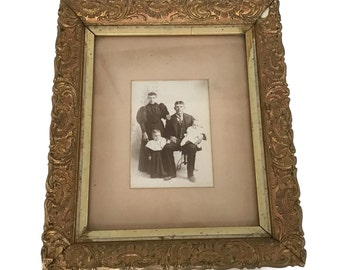 Antique Wood Gesso Gold Gilt Picture Frame Family Portrait Photograph Black and White 1800's Shabby Chic Home Decor