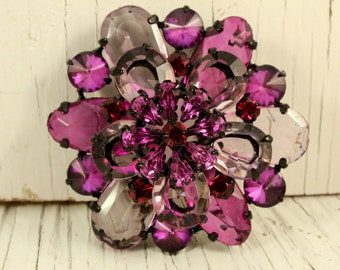 Large Vintage Plastic Purple and Black Rhinestone Flower Brooch (retro 80s 90s big layer floral round dark pretty prong set pin)