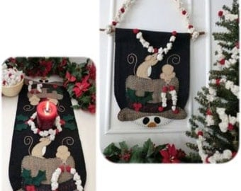 Popcorn Treats  Cath Pennys Wool Applique Table Runner, Wall Hanging & Popcorn Garland Pattern  (pattern only)