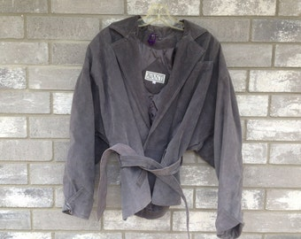 80s grey seude tie jacket