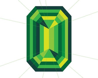 Gemstone Paper Piecing Pattern - Emerald Cut - Jewel Quilting Pattern