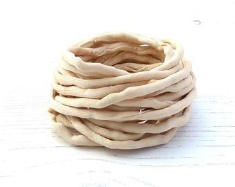 Silk Cord hand dyed 3 meters beige ivory silk string 4mm