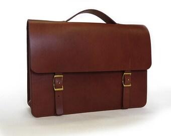 "Handmade 14"" Leather Messenger Bag - Medium Brown"