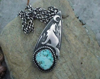 Sterling Silver Wolf Necklace / Wolf Pendant / Wolf Totem / Turquoise  Pendant Necklace