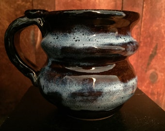 Brown and Blue Mug with Thumb rest