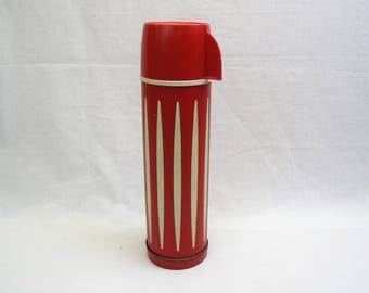 Red stripe Insulated vacuum bottle Universal thermos 1 quart beverage holder hot cold server picnic travel