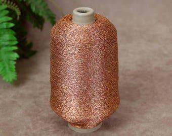 Metallic Copper Knitting Machine Yarn, 14 oz Cone, 2 ply Fine Knitting Crochet Yarn, Metallic Glitter Sparkle Polyester Yarn, SammieDoos USA