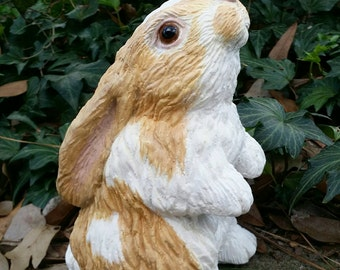 """Buff/White Bunny Rabbit Garden Statue/Figurine 7"""" Tall Concrete/Cement Standing Mini Lop Easter Indoor or Outdoor Decoration"""