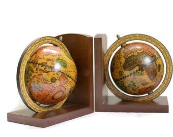 Vintage Globe Bookends Wood Base