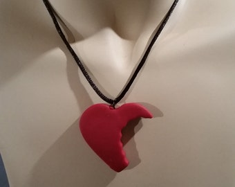 zombie bite heart necklace