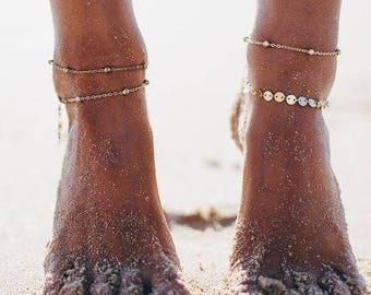 Disc Chain Anklet, 14k Gold Filled Anklet, Thin Gold Anklet, Minimalist, Gold Anklet