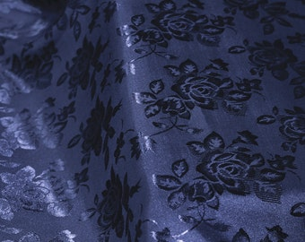 Navy Floral Jacquard Brocade Satin Fabric By the Yard Style 3006
