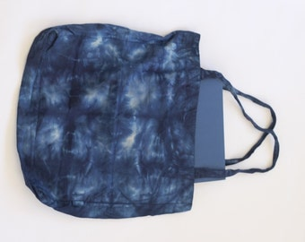 Indigo Shibori shopper, Large Canvas Bag, Indigo Blue Shopping Bag, Blue fabric bag