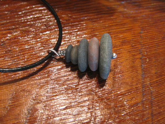 Lake Superior Pebbles Granite Stone, Sterling Silver & Black Leather Pendant Necklace-Toniraecreations