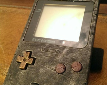 Custom STEAMPUNK / WASTELAND Rustic Gameboy pocket - SILVER .. fan art