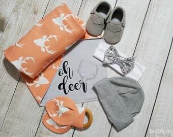 Baby Swaddling Blanket, Deer, Oh Deer, Baby Girl Deer Gift, Baby Shower Gift, Baby Girl Deer Blanket