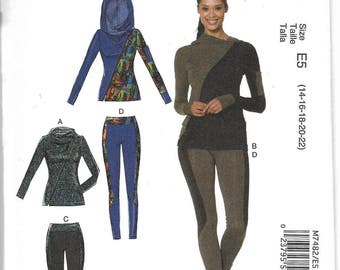M7482 McCall's Women's Jacket and Leggings Sewing Pattern Sizes 14-22 Hoodie Optional