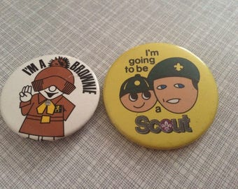 Brownie and Scout vintage badges
