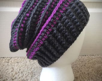 Dark Gray & Pinkish Purple Slouchy Hat Women's