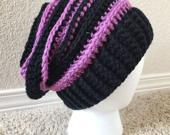 Black & Lilac Purple Striped Slouchy Hat