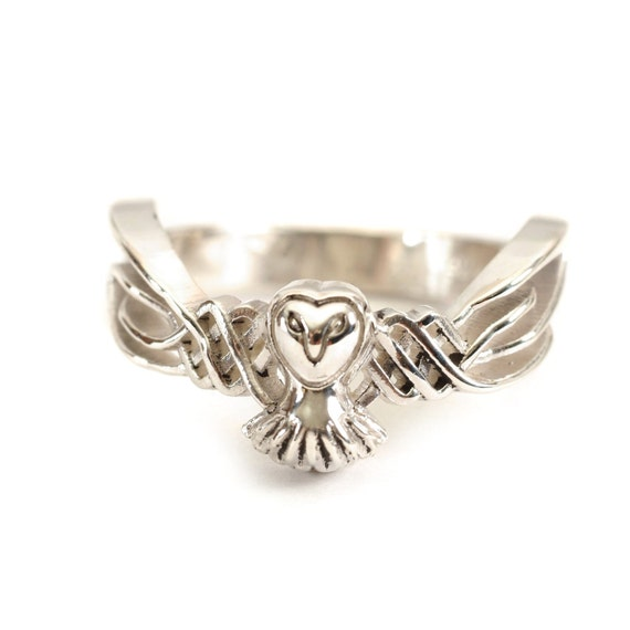 Gold Owl Ring, 10K Gold Ring, Celtic Ring, Celtic Owl Jewelry, Unique Wedding Band, Handmade Gifts for Her, Custom Ring Size CR-1011