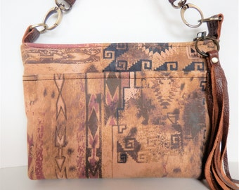 Rustic Southwestern tribal print, leather crossbody or shoulder bag.  Brown and tan, suede crossbody bag.