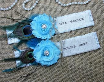 Rustic Country Chic Wedding Garter Set ,Monogrammed Keepsake & Toss Garter Set ,Personalized Rustic Wedding Garter Set,Wedding Garters