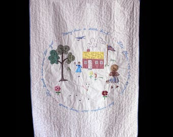 SALE 25% off Vintage Handmade Baby Quilt Mary Had a Little Lamb Appliqué Embroidered 44.25 x 34.25 Beautiful!