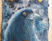 Corbeau - oiseau totem - aquarelle 10 x 15 cm avec petits ajouts feuille d'or.
