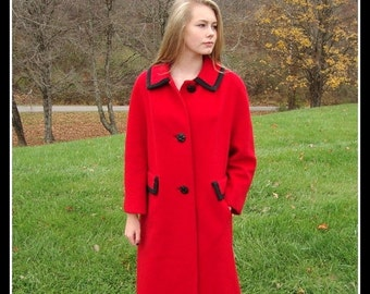 CLEARANCE ON SALE Vintage 1950s Red wool coat, Betty Rose, Union Made, mid century, rockabilly, mad men, size Large / Extra Large