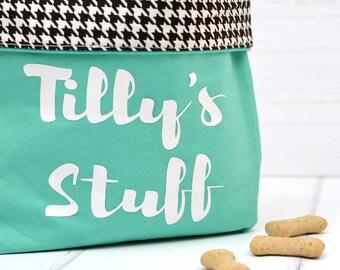 Personalised fabric storage bin - pet home decor - dog toy bag - personalized pet gift - pet storage - dog biscuit bag - pet toy storage