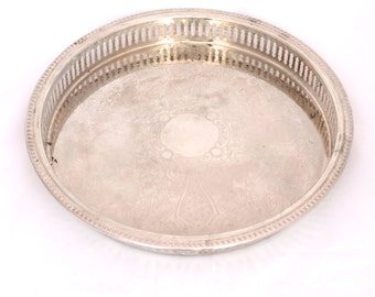 """Vintage 11"""" Silver Plated Tray, Round Gallery Serving Tray, Silver Drinks Tray, Silver Coffee Table Tray, Chased English Silver Butlers Tray"""