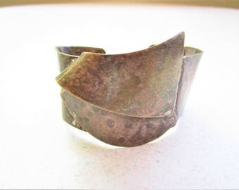 Vintage Metal Geometric Cuff Bracelet Silver Plated
