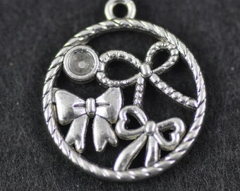 Bow Charms, 10 pcs 19mm Antique Silver Tone Round Bow Charms Pendant