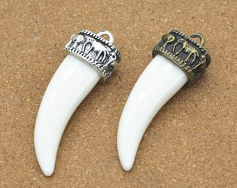 Fang Tooth Charms, 5 pcs 46x15mm Antique Silver/Antique Bronze Tooth Charm Pendant