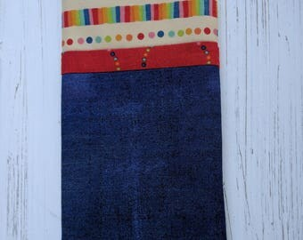 Patchwork fabric eyeglass case featuring fabric from MoMo's Flying Colours
