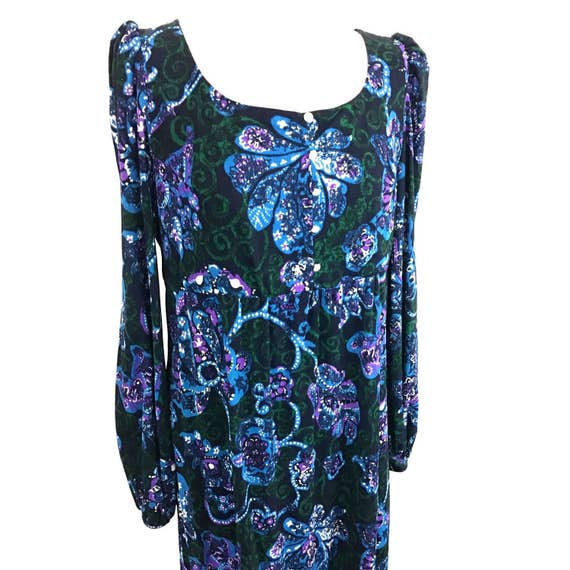 1970s maxi dress flared sleeves babydoll vintage paisley print psychedelic bodice A line skirt black dress empire line UK 16 plus size 70s