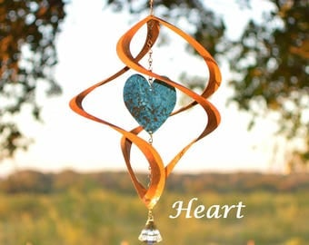 BreezeWay Heart Copper Wind Spinner |Copper Anniversary|Metal Wind Spinner|Hanging Spinner|Kinetic Wind Sculpture|7th Anniversary|Spinners