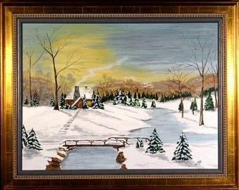 Superb ca.1970 Snowy Winter Scene Oil Painting w/Frame Artist Signed