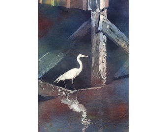 Watercolor painting of heron under pier- Outer Banks, North Carolina.  Bird watercolor painting fine art print.  Original watercolor.
