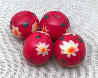4 Vintage Handmade Cherry Red Japan Millefiori Round Glass Beads 16mm
