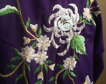 1970's Japanese Kimono w Flower Embroidery