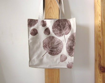 Soft canvas bag, Fall bag, hand printed bag, hand stamped bag, leaves stamp, canvas tote bag, large tote bag