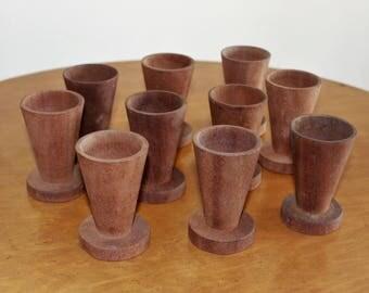 Set of Ten 10 Primitive Wood Egg Cups