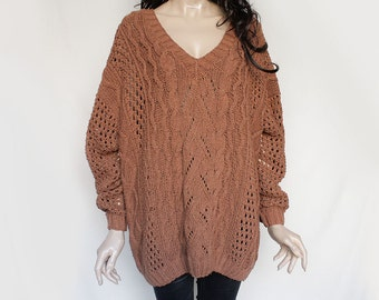 90s Vintage Brown Wool Oversized Sweater for Women