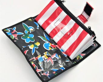 Cute Black Oilcloth Envelope System Wallet for Dave Ramsey Cash Budgeting and Extreme Couponing